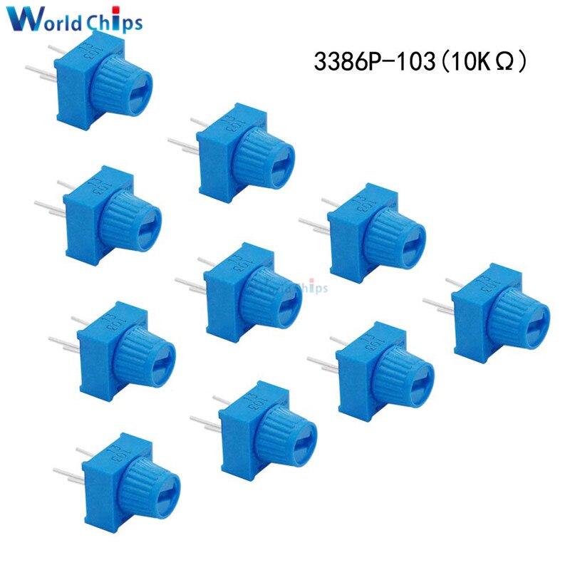 10 pièces 3386P-1-103 résistance de potentiomètre Trimpot 10KΩ Ohm 10K avec bouton potentiomètre de réglage de platine de prototypage à un tour pour Arduino