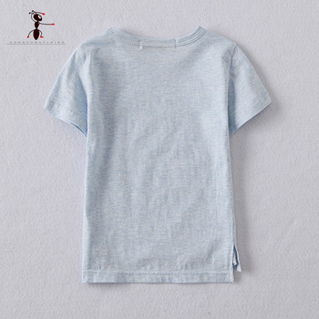 Kung Fu Ant 2017 New Arrival O-neck Cotton 2T-5T Size Boy's Summer T-shirt Blue Green Pink Beige Top for Kids 2733