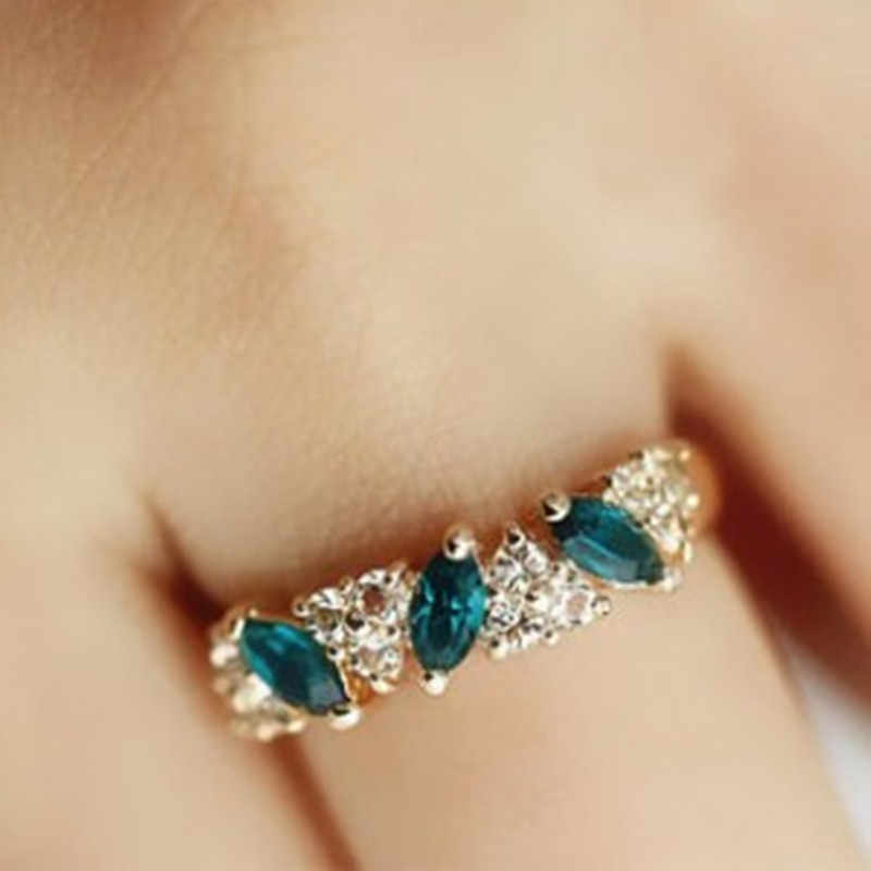 2019 cute Austrian crystal ring sweet sparkling ring female gold color Green Ring Elegant Jewelry Made  Rings for Woman girl