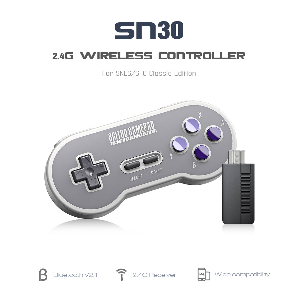 8BitDo SN30 Controller Wireless Gamepad with 2.4G NES Receiver for Windows Android PC Mac 8