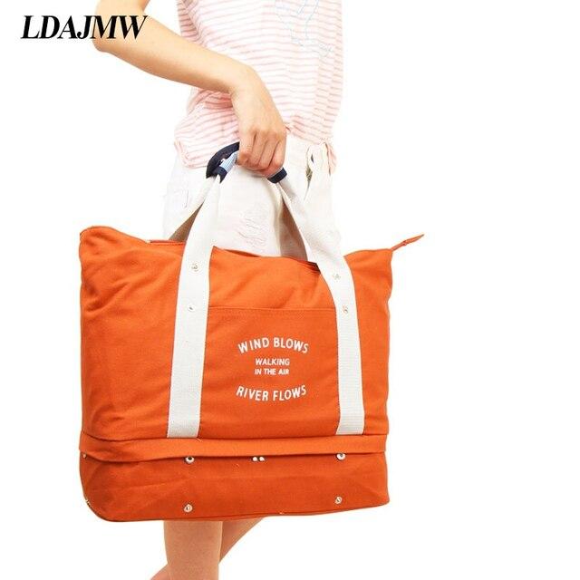 LDAJMW Ocasional Grande Capacidade de bagagem Tote Embalagem/Sapatos Bolsa de Ombro Saco Grande Saco de Compras de Viagem Dobrar Roupas de Armazenamento Organizador