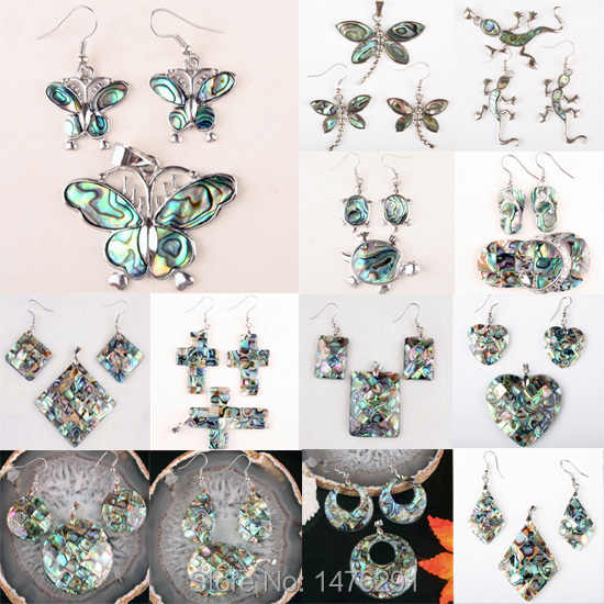 Charming 15 Kind Abalone Shell Cross Butterfly Dragonfly Beads Pendant & Earrings 1 SET