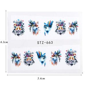 Image 2 - 15pcs מעורב מדבקת ציפורניים אמנות מחוון סט פלמינגו ינשוף פרח בעלי החיים עיצובים מים מניקור טיפים לסכל מדבקות CHSTZ659 673 1