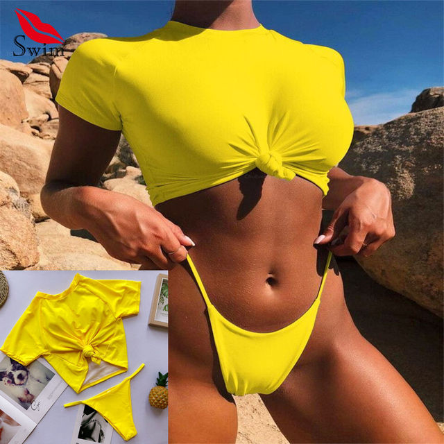Bikinis Female 2019 Brazilian Swimwear Women Sport Swimsuit Micro Bikini Swim Suit T-shirt Sexy Bathers Thong Bikini Push Up 2