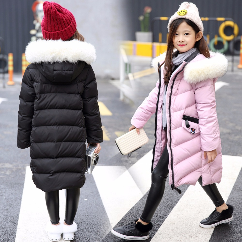 Girl 2017 new Korean long down jacket winter for size 8 9 10 11 12 13 14 years child large thick fur collar outerwear coat baby boy and girl 2017 new korean thick down jacket winter for size 1 2 3 4 years child long coat kid tide casual outerwear