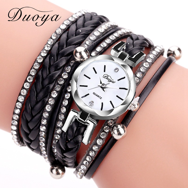 Fashion Watches Women Duoya Brand Top Luxury Ladies Dress Simple Silver Black Weave Bracelet Clock Quartz Watches Casual Watch duoya fashion luxury women gold watches casual bracelet wristwatch fabric rhinestone strap quartz ladies wrist watch clock
