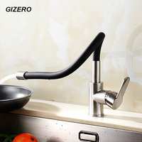 Colorful Kitchen Mixer Faucet 360 Swivel Rotation Flexible Hot Cold Water Faucet Brushed Nickel Deck Mount