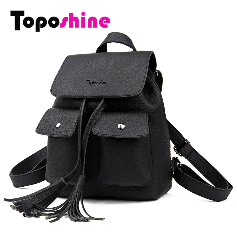 Toposhine 2018 Fashion Tassel Girl Backpacks Small PU Leather Cute Women Backpack Fashion Lady Shoulder Bag Rivet Schoolbag 1731 jxsltc womens pu leather rivet backpack female backpack for adolescent girl casual small backpacks women pouch fashion lady bag
