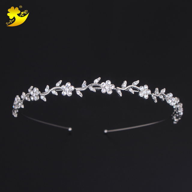 Xinyun Rhinestones Bridal Hair Accessories Women Rhinestones Crown Simple Diadem Wedding Hair Jewelry Bride Gifts Hair Tiaras