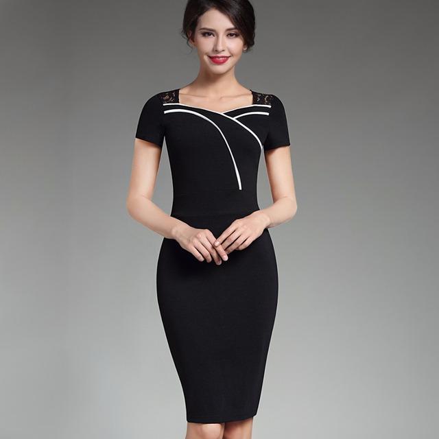 Retro negro encaje floral summer dress mujeres sweat-corazón de manga corta cuello con volantes bodycon midi dress illusion opcional b318
