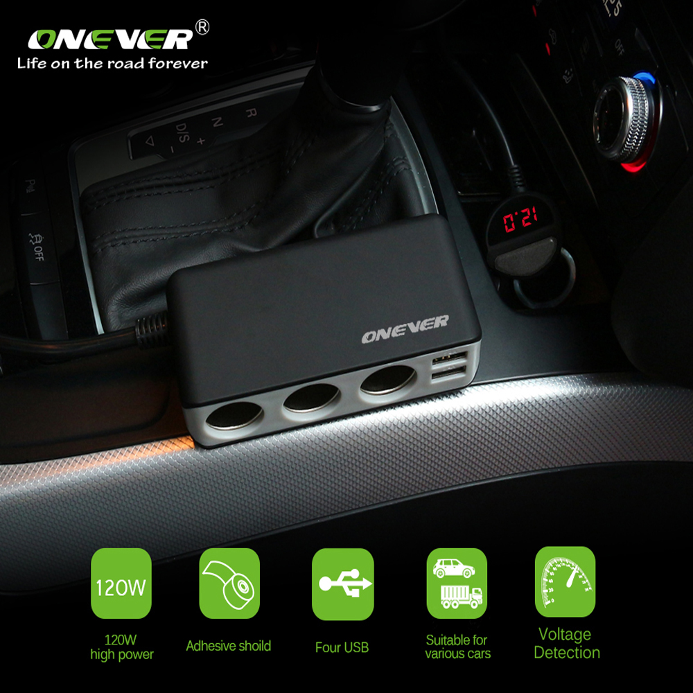 Car Fast Charger with Voltage Display and 3 Cigarette Lighter Sockets