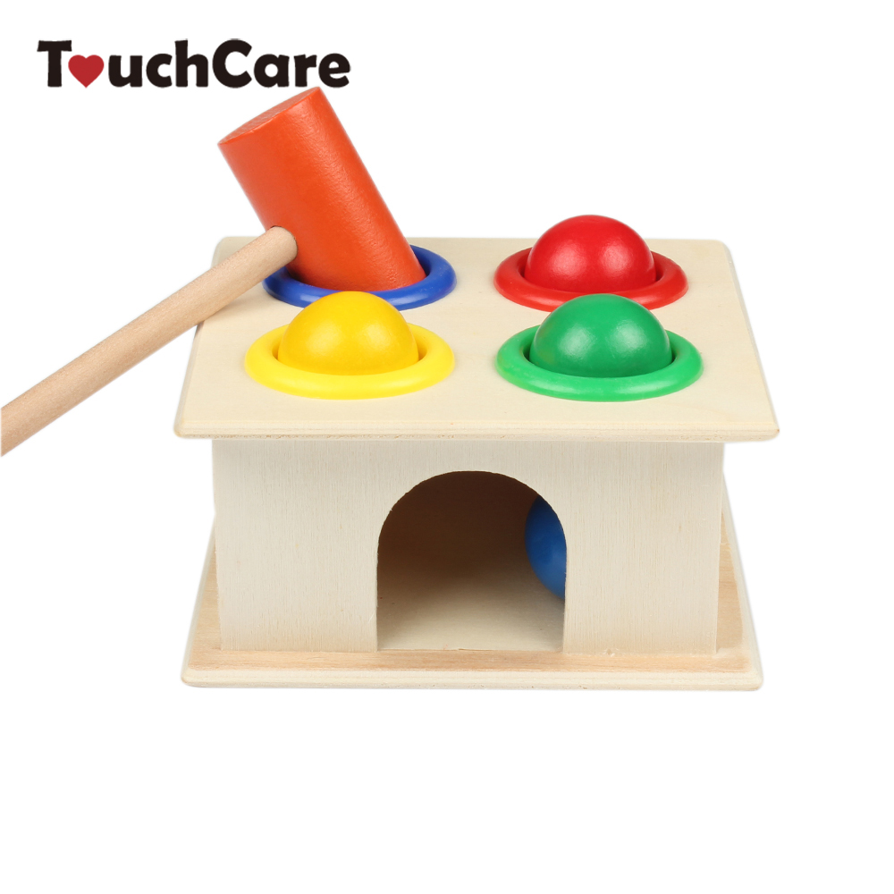 Newborn Colorful Hammering Wooden Ball Hammer Box Geometric Blocks Kids Early Learning Educational Toys Children Gift Toy 1pcs colorful kid wooden animals cartoon picture puzzle kids baby educational toys train children newborn early development