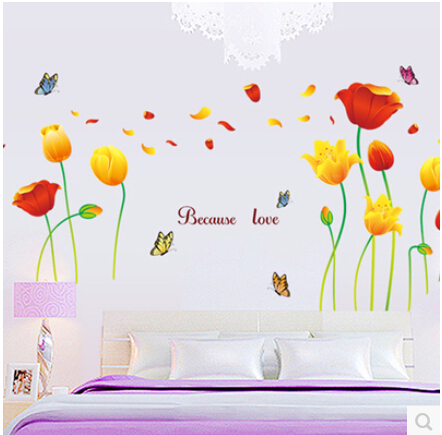 170*100cm Elegant Flower Wall Stickers Graceful butterflies Wall Stickers Furnishings Romantic Living Room Decoration