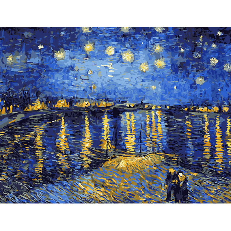 Pictures DIY Digital Oil Painting Paint By Numbers Christmas Birthday Unique Gift Van gogh starry sky of the rhone river SZ-FJ1