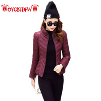 2017 Special Offer Full Winter Thin Section Coat Women Fashion New Solid Color Large Size Cotton Stand Collar Warm Parkas Ll274