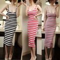 2016 Sexy Women Holiday Casual Spaghetti Strap Striped Summer Beach Party Long Dress