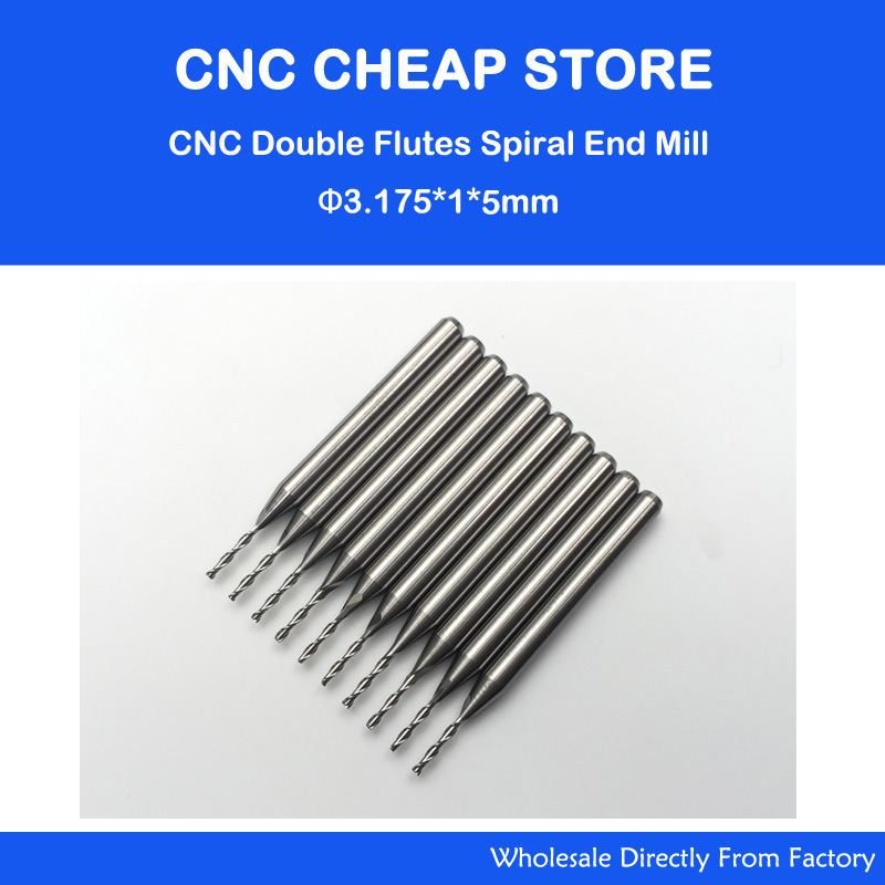 10pcsx1/8 1mm Carbide CNC Double/Two Flute Spiral Bits CEL 5mm end mill engraving cutter 6 32 super solid carbide one flute spiral bits for cnc engraving machine aaa series