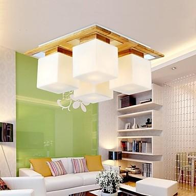 Eiche Und Glas LED Moderne Deckenleuchte Mit 4 Lichter Fr Wohnzimmer Leuchten Luminaria Lster De