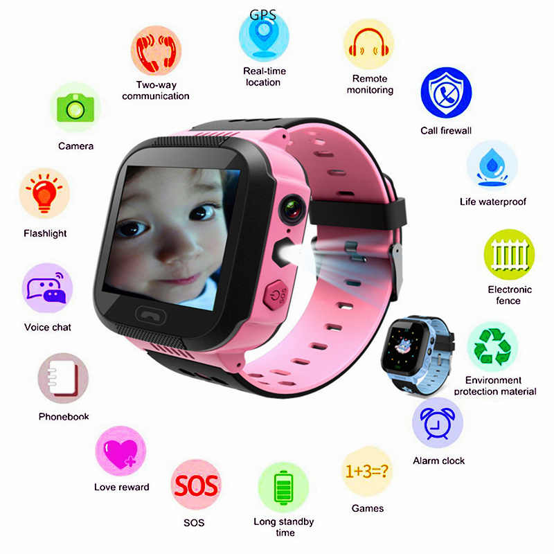 Girl Boy GPS SOS Smartwatch Flashlight Camera Clock Turkish SIM Card GSM Call Kol Saati Waterproof Children Smart Bracelet Watch