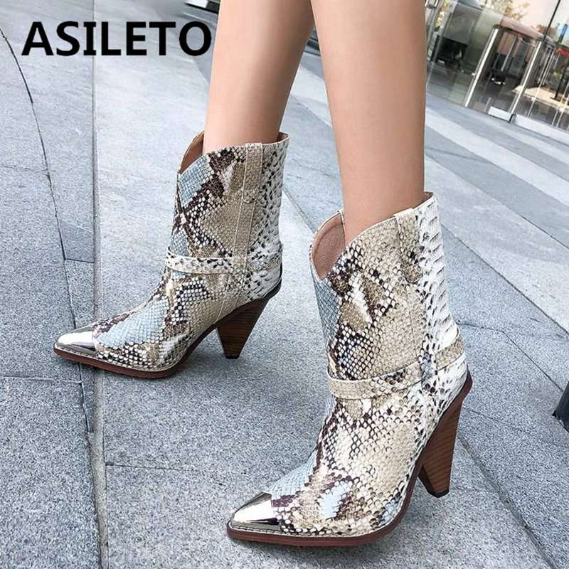 ASILETO big size 34-44 Genuine leather western Cowboy boots women pointed steel toe high heels autumn snake ankle booties botas