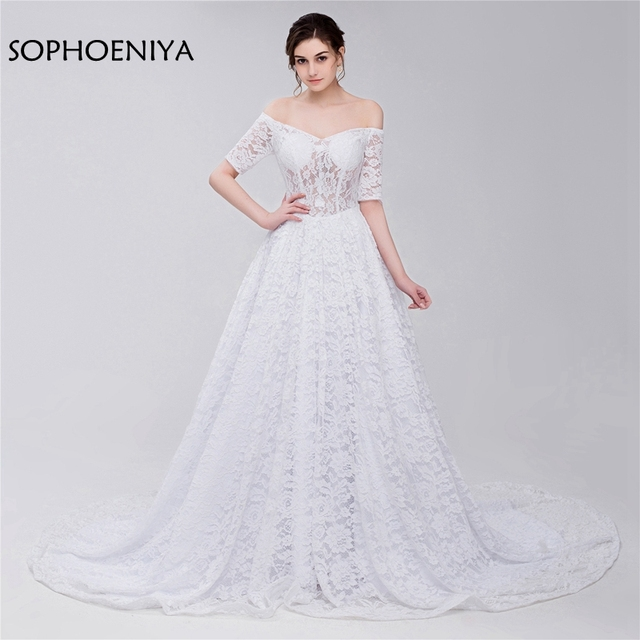Fashion Lace Wedding dress Illusion Half sleeve vestido branco ...