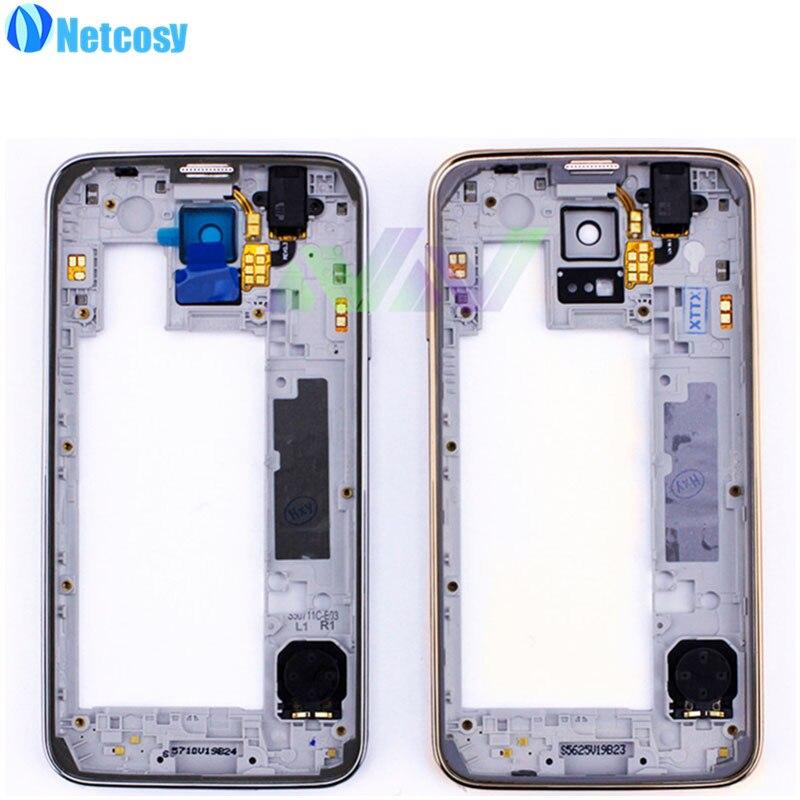 Netcosy Moyen-mi Plaque Cadre Lunette de Couverture de Logement Pour Samsung Galaxy S5 G900F/G900V/G900T Moyen Cadre Replacemenrt réparation