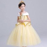 Bela Adormecida Princesa Aurora Vestido da menina Crianças Crianças Traje Belle Meninas Vestido de Festa De Halloween Cosplay Roupas para 2-10Yrs