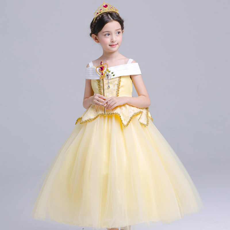 все цены на Girl Aurora Dress Children Sleeping Beauty Princess Costume Kids Belle Party Dress Girls Halloween Cosplay Clothing for 2-10Yrs