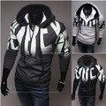 Nueva 2015 Otoño Invierno impresión de la Letra con capucha de Los Hombres Sudaderas Moda casual Slim Fit chaqueta moleton masculino