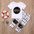 Crianças de algodão roupas de verão 2 pcs Da Criança Do Bebê Recém-nascido Menino Menina Roupa T-shirt Top + Calça Roupas Definir o Tamanho 0-6Y 2017 Infantil