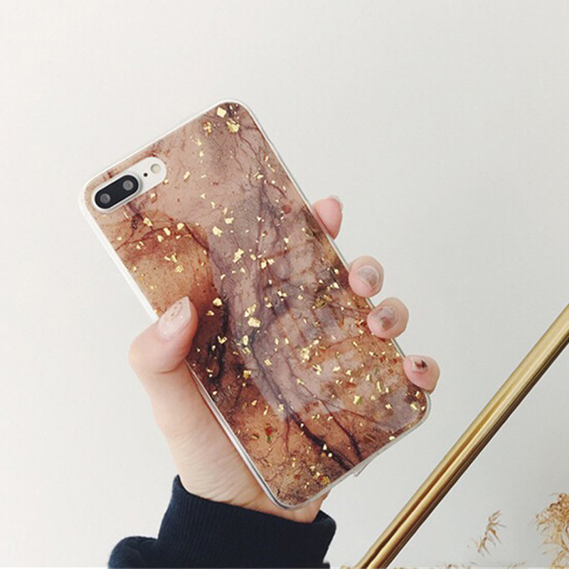 wholesale dealer 07e1c 2f9df Luxury Gold Foil Glitter Marble Phone Cases For Iphone XS Max X XR 7 8 Plus  6 6S Glossy Soft TPU Cover For Iphone 7 Case Capa