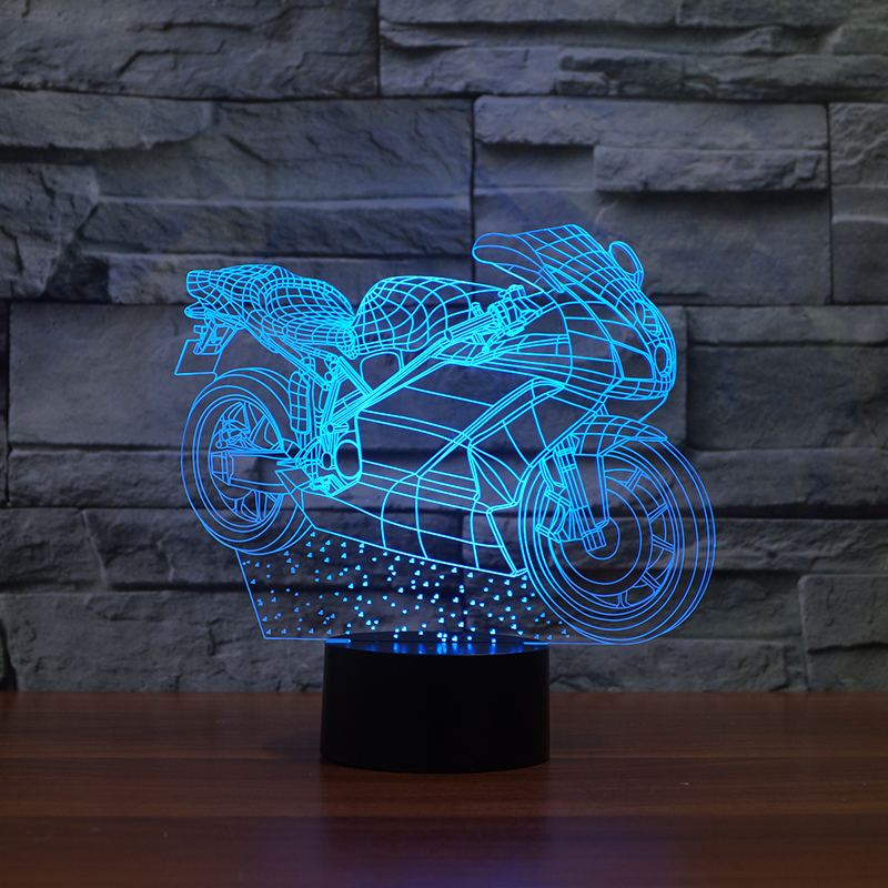 Motorcycle 3D LED illusion Night Light Desk Table Lamp Decor 7 Color Changing
