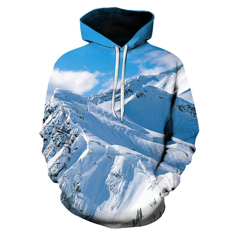 New Fashion Spring/Autumn Men/women Thin Sweatshirts With Hat 3d Mountain or Sea Scenery Print Trees Hoodies Tops Pullovers
