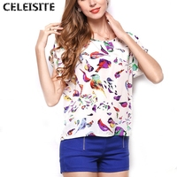 Summer Popular O Neck Bird Printed Tops Women Colorful Short Sleeve Female T Shirts Batwing Loose