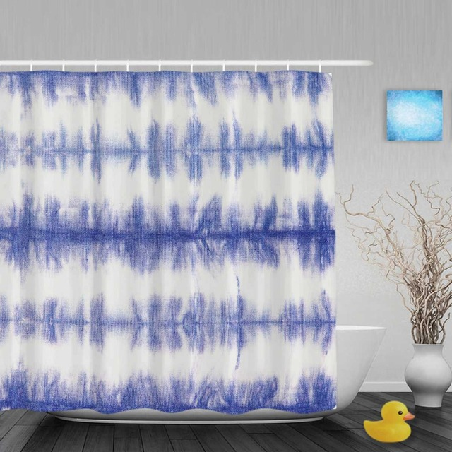 Abstract Blue Strip Tie Dye Bathroom Shower Curtain Morden Home Decor Shower  Curtains Waterproof Polyester Fabric