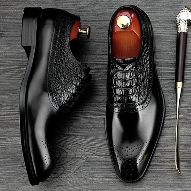 New Arrival Round Toe Man Formal Dress Shoes Genuine Leather Alligator Brogue Footwear Men's Handmade Wedding Party Oxfords NE48