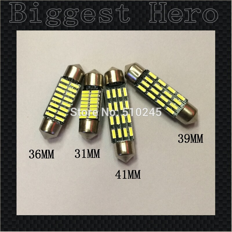 100x Big sales Wholesale Car led festoon 31MM 36MM 39MM 41MM light c5w 16 SMD led 16smd 4014  Auto led bulbs Free shipping 2pcs 12v 31mm 36mm 39mm 41mm canbus led auto festoon light error free interior doom lamp car styling for volvo bmw audi benz