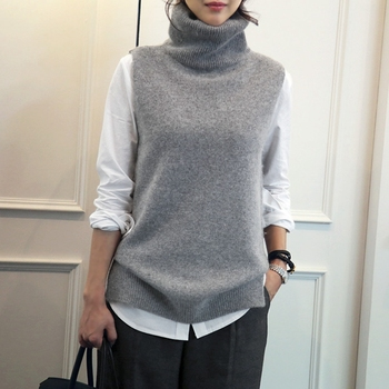 FRSEUCAG Best selling new women's knitted high-neck vest loose comfortable cashmere sweater sleeveless sweater women's pullover 4