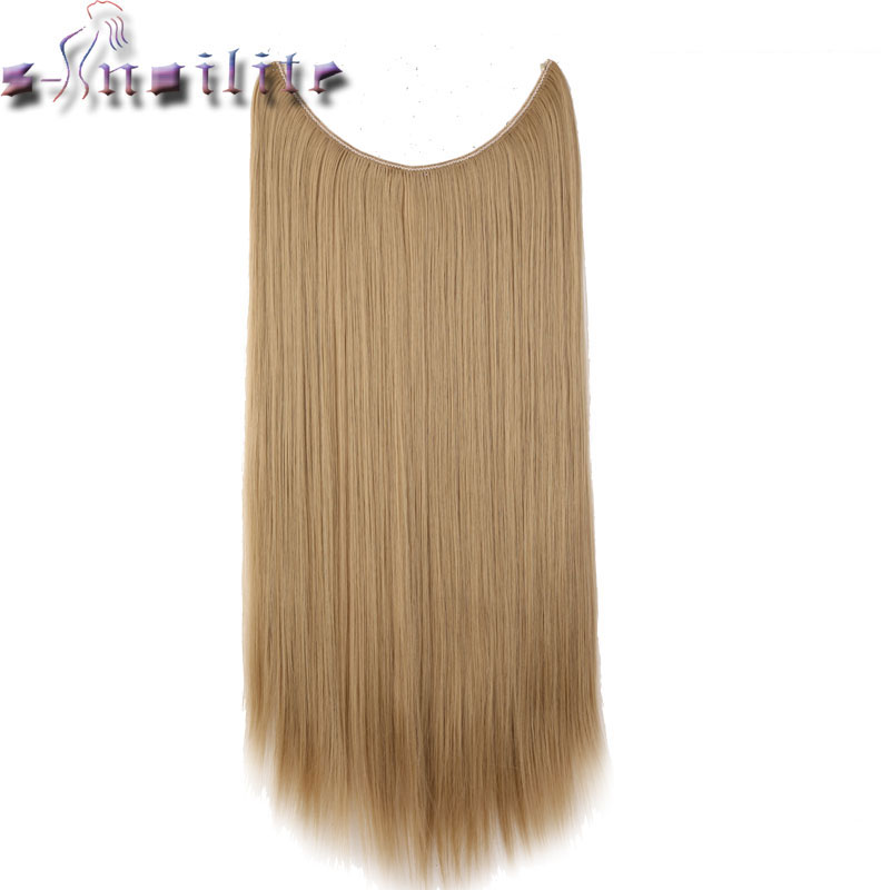 S-noilite Long 100% Real Natural Blonde Synthetic Hair Heat Resistant Hairpieces Fish Line Invisible Striaght Hair Extension