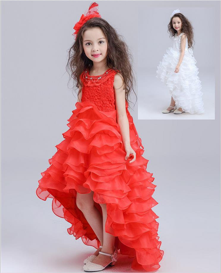Подробнее о White and Red Flower Girls Dresses for Wedding Layered Evening vestidos Princess Party Dress Sleevless Summer Dress girl dress girl dress 2016 spring summer daisy flower girls dresses for party and wedding kids clothes brand princess costume girl vestidos