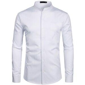 Image 3 - 2019 novo botão para baixo trabalho de escritório de negócios masculino preto 2xl gola em banda masculina ajuste fino manga longa camisas vestido