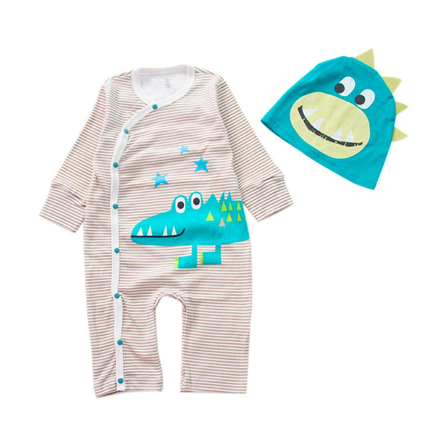 LONSANT Newborn Infant Baby Boys Girls Cute Print Romper Jumpsuit+Hat Outfits Green Clothes Drop Shipping