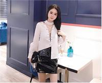 2017 Mùa Thu Đông Nữ Đen Shinning Cao Eo PU Rắn Thống Váy Gái Faux Da Ngắn Váy Đáy Quần Áo Phụ N