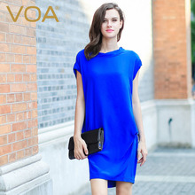 VOA Summer Blue Silk Casual Dress Women Sexy T-shirt Dresses Female Short Sleeve Turtleneck 2017 Fashion Plus Size Blouse A5908
