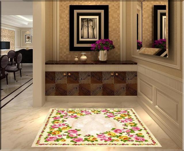 Vloer behang 3d voor badkamers Romantische bloemen marmer mozaïek ...