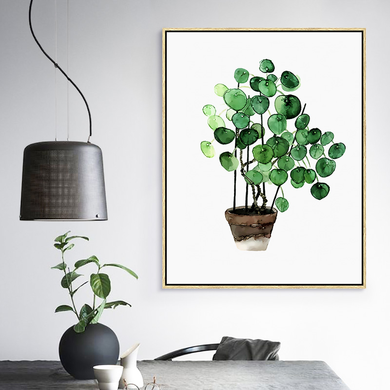 Modern Green Tropical Plant Leaves Canvas Art Print Poster Nordic Green Plant Wall Pictures Kids Room Large Painting No Frame in Painting Calligraphy from Home Garden