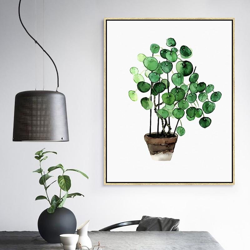 Moderna zelena tropska biljka ostavlja platnu Ispis plakata, - Kućni dekor - Foto 4