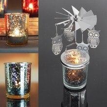 Романтический вращающийся светильник для чая, металлический светильник для свечей, держатель для чая, карусель, украшение для дома