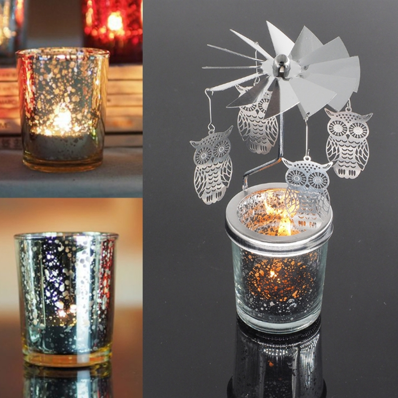 Romántico Rotary girando vela candelita de Metal té titular luz carrusel de la decoración del hogar