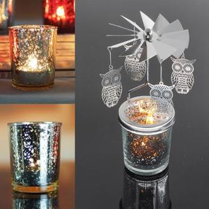 Candle Metal Tea-Light-Holder Carousel Romantic Home-Decoration Rotary